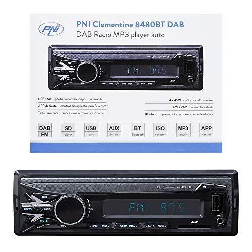 DAB MP3 Autoradio PNI Clementine 8480BT, 4x45w, 12 / 24V, 1 DIN, mit SD, USB, AUX, RCA, Bluetooth und USB 1.5A zum Aufladen des Telefons