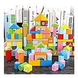 FC Bloques de construcción de la primera infancia juguetes educativos bloques de madera bebé 100 barriles alfanuméricos juguetes for la primera infancia educativos bloques de construcción de madera fo