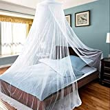 AIFUSI Mosquito Net for Bed, King Size Bed Canopy Hanging Curtain Netting, Princess Round Hoop Sheer Bed Canopy for All Kids Baby Cribs and Adult Beds Fit Twin, Full, Queen- White