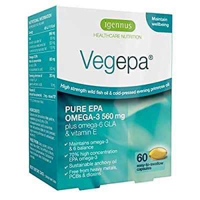 Igennus Vegepa Omega-3-6 Supplement, 800mg Wild Fish Oil with Virgin Evening Primrose Oil, 560mg Omega-3 EPA with GLA for Balanced Omega-3-6 Intake, GMP Manufactured, 60 Capsules