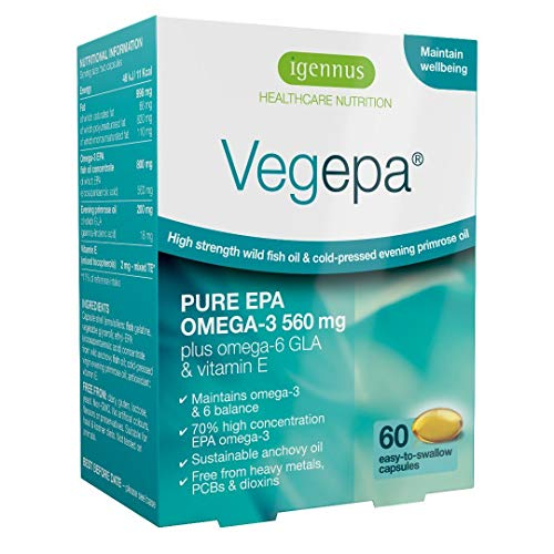 Vegepa - 800 mg Fischölkonzentrat mit 560 Omega-3 EPA pro Tagesdosis plus Omega-6, 60 Kapseln