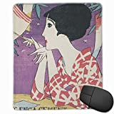 マウスパッド 竹久夢二 「たなばた」 (1926) 和服姿 浴衣 おしゃれ 耐久性が良い 滑り止めゴム底 滑りやすい表面 防水 25*30cm