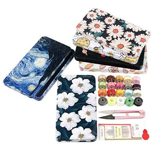 ソーイングセット 裁縫セット 缶型 SAPAS 裁縫道具 薄型タイプ コンパクト ミシン糸 手縫い糸 はさみ ボビン (花の海)