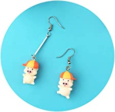 Eiffy Lovely Pink 3D Pig Piggy Drop Earrings Cute Cartoon Animal Earrings for Woman Funny Jewelry