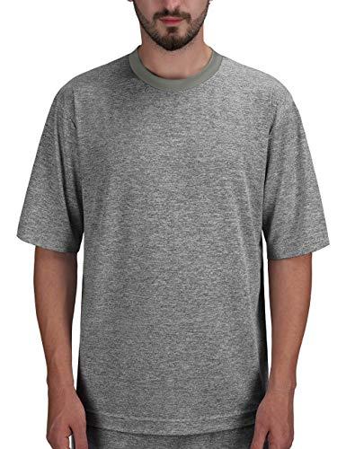 DISHANG Maniche Corte da Uomo Leggero e Stretch Pigiama Traspirante Sleepwear Athletic Shirts (Grigio Scuro, XL)