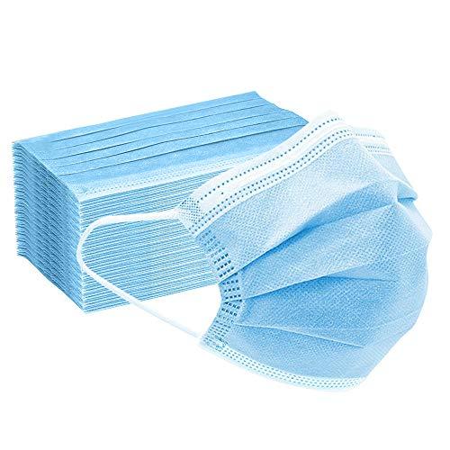 50 Stück Maske Schutzmaske, 3 Lagig Einweg Mund und Nasenschutz Maske-Blau