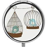 Cartone animato vintage uccelli in gabbie ornamentale scuola materna amante degli animali tema pillola caso 3 contenitore contenitore di metallo portatile pillola