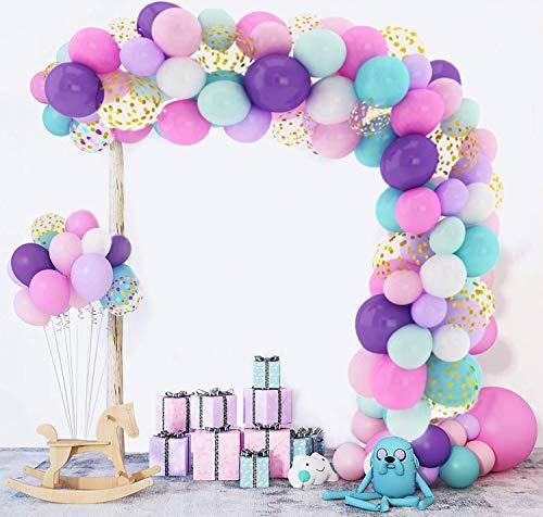 168Pcs Licorne Ballons Guirlande Arche Kit Rose Bleu Violet Blanc Unicorn Anniversaire Décorations Confettis Métal Latex Ballons pour Femme Fille Baby Shower Mariage Party Fournitures