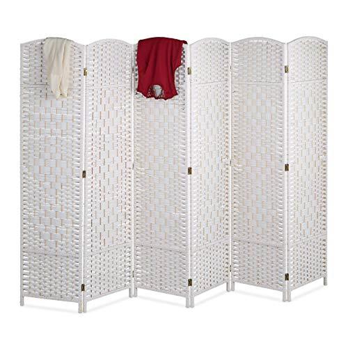 Relaxdays Paravent Raumteiler, HxB: 170 x 240 cm, Faltbarer Raumtrenner, 6-teiliger Sichtschutz, Holz & Papierseil, weiß