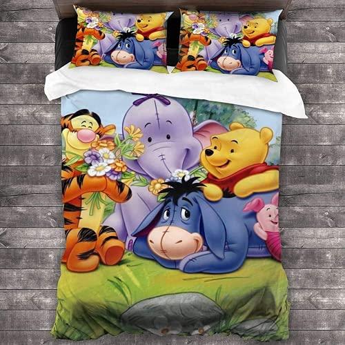 QWAS Juego de ropa de cama Winnie The Pooh para niños, funda de edredón Winnie The Pooh, tejido de microfibra con impresión 3D, juego de 3 piezas (A1, 200 x 200 cm + 80 x 80 cm x 2)