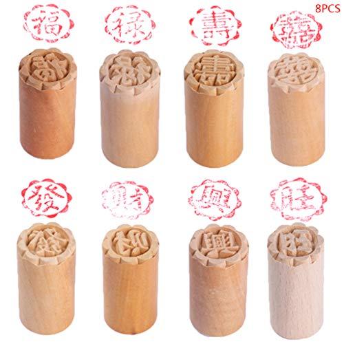 RG-FA Lot de 8 moules à gâteau en bois pour dessert et sceau traditionnel chinois lune