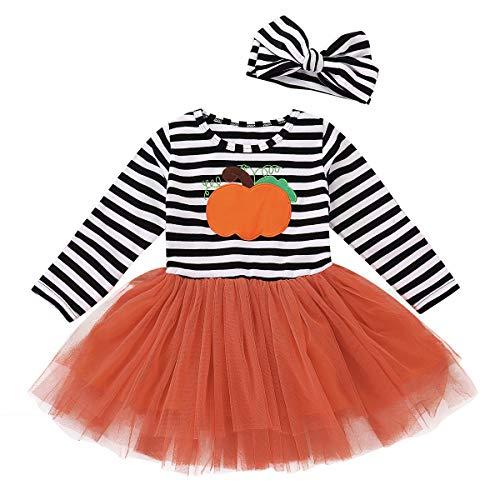 Toddler Baby Halloween Outfits Kids Girls Pumpkin Print Long Sleeve Dress Striped Skirts Halloween Day Clothes(1T/2T)