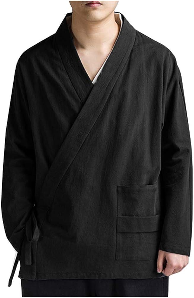 LifeHe Men's Japan Cotton Linen Open Front Kimono Cardigan Jacket
