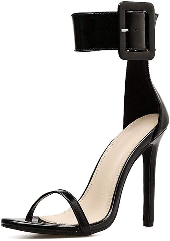 UZZHANG Frauen Sandaletten mit hohem Absatz Fischmundstück Stilett Stilett sexy Schnalle hochhackige Schuhe  willkommen zu wählen