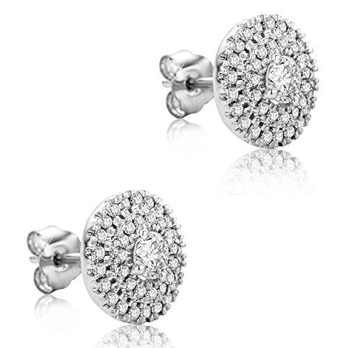 Orovi Pendientes para mujer, joyas de oro blanco, pendientes con diamantes brillantes, piedras grandes de 0,26 quilates, pequeños diamantes de 0,26 quilates, oro 375