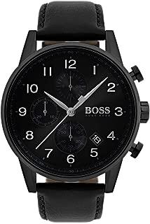 BOSS Men's Navigator Quartz Black IP and Leather Strap Casual Watch, Color: Black (Model: 1513497)