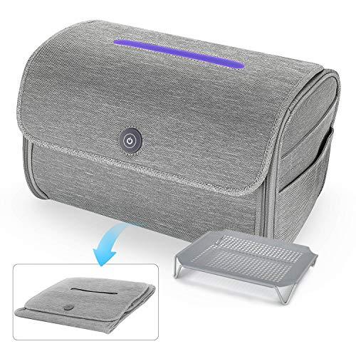 Vemingo Bolsa esterilizadora UV plegable, bolsa desinfectante de gran tamaño con lámpara de desinfección UVC, para teléfono móvil, biberón, cepillo de dientes, toallas, juguete, gris