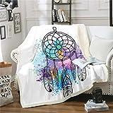 Dreamcatcher - Manta de forro polar para sofá, adolescentes, diseño bohemio, con estampado de plumas, manta de felpa para decoración de dormitorio, 127 x 152 cm