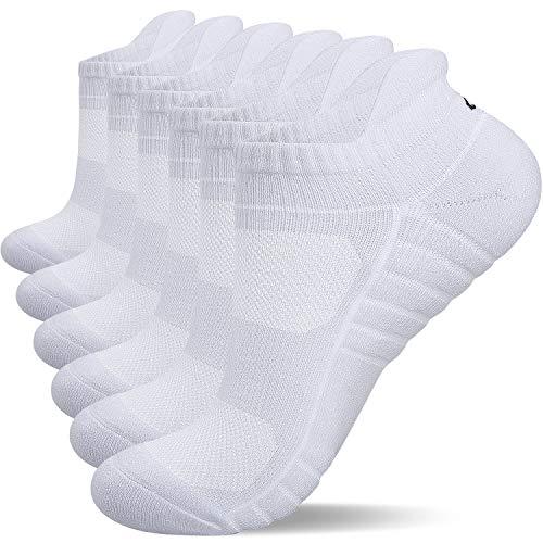 anqier 6 Paar Sneaker Socken Herren Damen Gepolsterte Laufsocken 43-46 39-42 35-38 47-50 Socken Damen Atmungsaktiv Schwarz Weiß Grau Baumwolle Sportsocken (Weiß-17, 43-46)