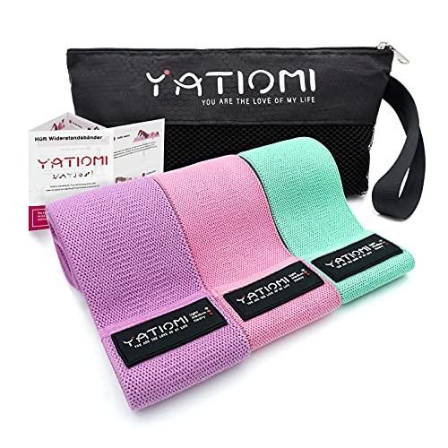 Yatloml Elastici Fitness (Set di 3), Fasce Elastiche Fitness in Tessuto con 3 Livelli di Resistenza, Bande Elastiche di Resistenza per Esercizi Glutei, Yoga, Pilates, Palestra