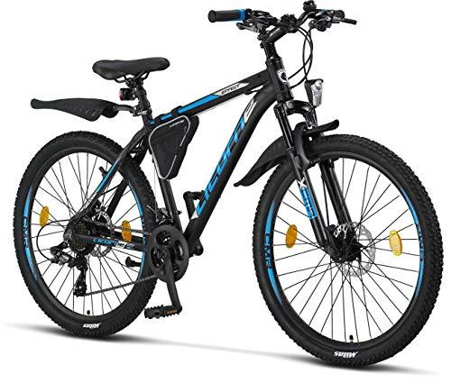 Licorne Bike Effect Premium Mountainbike Aluminium, Jungen, Mädchen, Herren und Damen - 21 Gang-Schaltung - Scheibenbremse Herrenrad - Schwarz/Blau 2xDisc-Bremse
