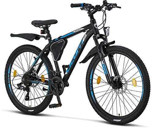 Licorne Bike Effect Premium Mountain Bike - Alloy Frame Bicycle for Boys, Girls, Men and Women - Shimano 21 Speed Gear, 26 inch, Black/Blue (2x Disc Brake)