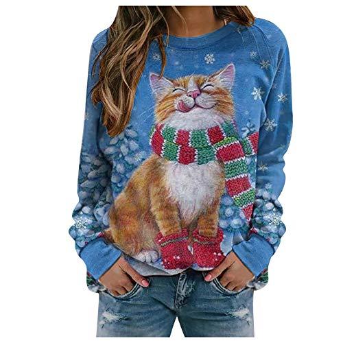 Auifor Frauen Weihnachten Pullover Sweatshirt, Langarmshirt Damen, Teenager Mädchen...
