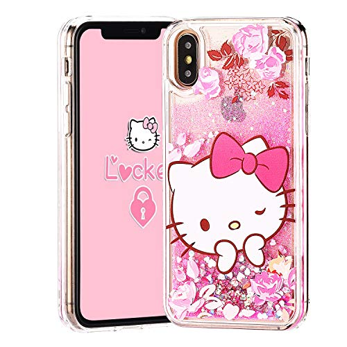 Logee Quicksand Kitty Pink Bling Glitter Girls Case for iPhone XR 6.1,Cute Cartoon Kawaii Animal Flowing Liquid Adorable Soft Cover,Funny Unique Character Cases for Kids Teens Women (iPhoneXR)