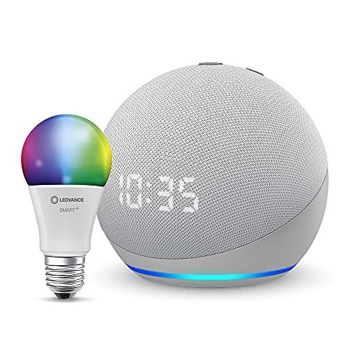 Echo Dot (4.ª generación), Blanco + Ledvance Bombilla Inteligente (E27), compatible con Alexa