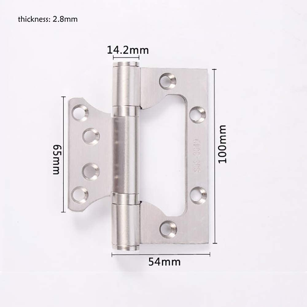 GEQWE Door Hinge 4 Pcs Groove-Free Thickened Mute Flush Hinges Furniture Hardware Cupboard Door Hinges Cabinet Gate Closet Hinge Color : Silver, Size : 4inch
