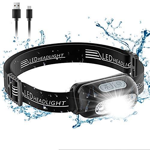 Cocoda Stirnlampe LED Wiederaufladbar, Kopflampe Stirnlampe Kinder, 5 Beleuchtungsmodi, Wasserfeste Leichtgewichts Mini LED Stirnlampe Rotlicht für Laufen, Camping, Wandern [USB Kabel Inklusiv]