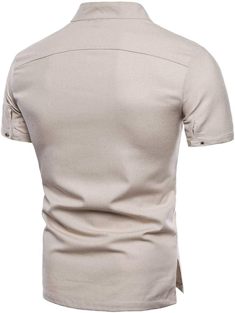 Leinen T Shirt Herren Leinenhemd Kurzarm Stehkragen Leinen Shirt Sommer Hemd Freizeithemden Poloshirt