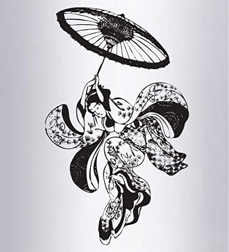 ASFGA Japanische Kirschblüte Comic Vinyl Wandaufkleber Retro japanische Geisha Tanz Öl Papier Regenschirm Schlafzimmer Wohnzimmer Teehaus Dekoration Wandblume 42x68cm