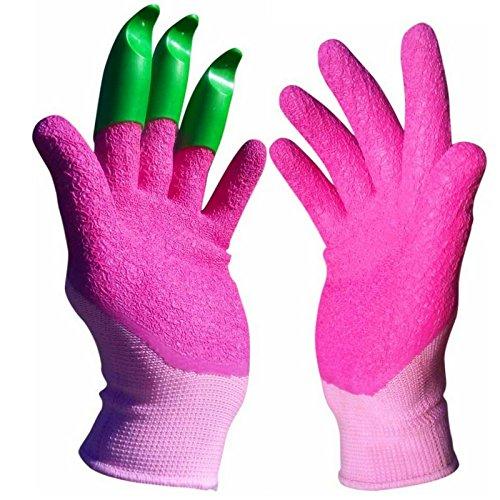 Honey Badger - Garden Gloves – Upgraded Premium Womens Gloves - All in one Tool for Light Gardening tasks - Claws on Left Hand - The ORIGINAL Digging Glove(TM.)