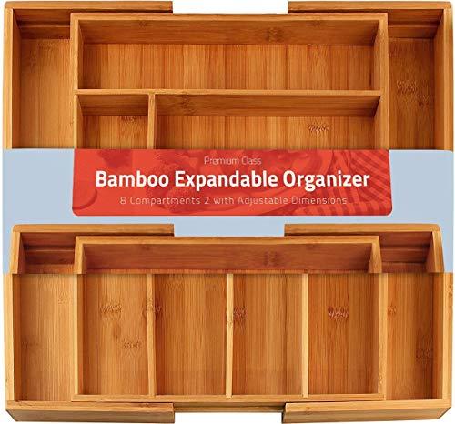 KICHLY 8 Fächer - Besteckkasten Bambus - Erweiterbares Besteckfach - Schubladeneinsatz für Küchenschränke