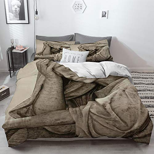 3 Piece Duvet Cover Set No Wrinkle Ultra Soft Bedding Set,Sculptures Decor,Old Statue of A Suffering Woman with A Vintage Sepia Look Sadness Them,2 pillowcase 50 x 75cm 1 Pc Bed sheet 230 x 220cm