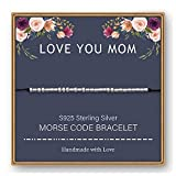 M MOOHAM Mom Gifts for Mom from Daughter, Mother Bracelets Morse Code Bracelet Mom Jewelry Sterling Silver for Mom Mother Mom to be New Mom Mother in Law Gifts from Daughter Best Gifts for Mom