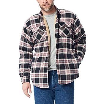 Wrangler mens Long Sleeve Sherpa Lined Jacket Button Down Shirt Caviar Large US