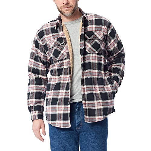 Wrangler Authentics Men's Long Sleeve Sherpa Lined Shirt Jacket, Caviar, Large