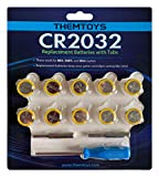 CR2032 Batteries 10 Pack, NES SNES N64 Battery CR2032 with Solder Tabs, 3V Battery CR2032 Battery, Batteries CR2032 3V Lithium Battery, Save Game Cartridge Replacement, 2032 Battery CR2032 Lithium 3V