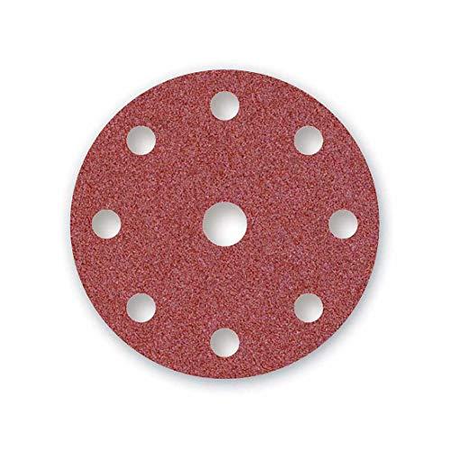 MENZER Red Discos Abrasivos con Velcro, 150 mm, 9 Agujeros, Grano 80, para Lijadoras Roto Orbitales, Corindón Normal (50 Piezas)