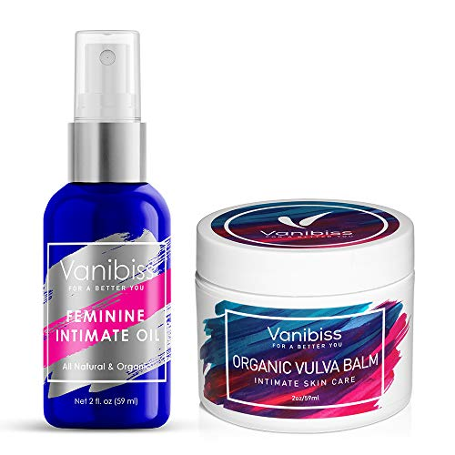 Feminine Intimate Oil Spray & Organic Vulva Balm Cream-Yeast Infection Treatment & Menopause Support by Vanibiss-Relieves BV, Dryness, Odor, Itching, Burning, Chafing-Organic & Natural (2fl.oz)-(2oz)
