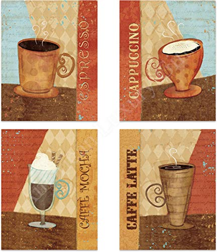 """Coffee Fine Art Wall Set of (4)- 8 x 10""""s Wall Art Prints- Ready to Frame. Latte, Espresso, Cappuccino & Mocha Home Décor, Coffee Decor & Kitchen Wall Decor. Perfect For Coffee Lovers & Coffee Bars."""
