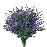 KUATAO 8 ramos de flores artificiales de lavanda de plástico, resistente a los rayos UV, arbustos de vegetación falsos, plantas, decoraciones para interiores, exteriores, jardín, decoración del hogar