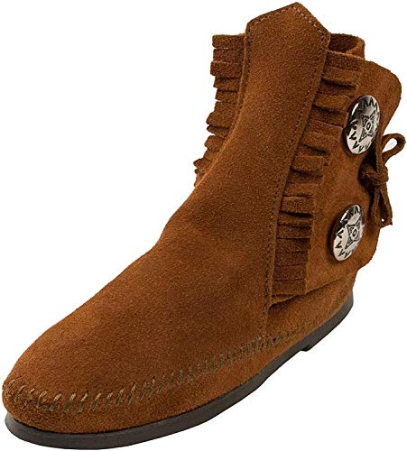 Minnetonka Women's Two Button Ankle Boot,Softsole Brown,8 M US