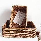 cestas mimbre Mano tejida RATAN RATAN RATAN Cesta de mimbre Fruta Té Snack Pan Picnic Casmetic Caja de almacenamiento Cocina Suministros Herramientas para el hogar ( Color : 2 , Size : 30x20x9cm )