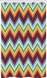 ABAKUHAUS Bunt Schmaler Duschvorhang, Zickzack Sharp Vibrant, Badezimmer Deko Set aus Stoff mit Haken, 120 x 180 cm, Mehrfarbig