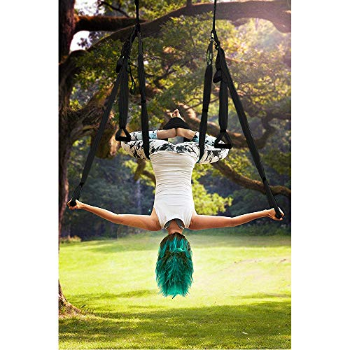 Aerial Yoga Trapeze Set Body Hammock with Ceiling/Door Mount Sets Hanging Straps for Air Yoga Inversion Exercises Include Daisy Chain, Carabinerblack