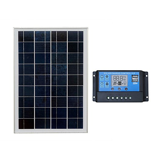 ECO-WORTHY 25-W-Kits für tragbare Solarpanels zum Laden von 12-V-Batterien: 25-Watt-Solarmodul und 20-A-PWM-Controller
