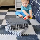 16 Pieces Plush Puzzle Foam Floor Mat- Thick Square Interlocking Fluffy Tiles with Border Foldable Rug Split Joint Soft Climbing Carpet Mats Shaggy Area Rug for Room Floor(11.8 Inch, White & Grey)